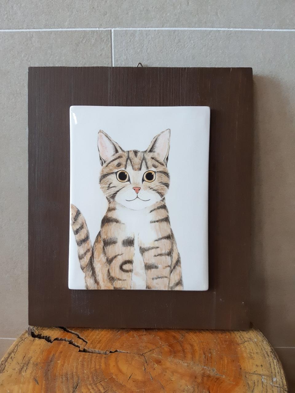도자기 고양이 액자