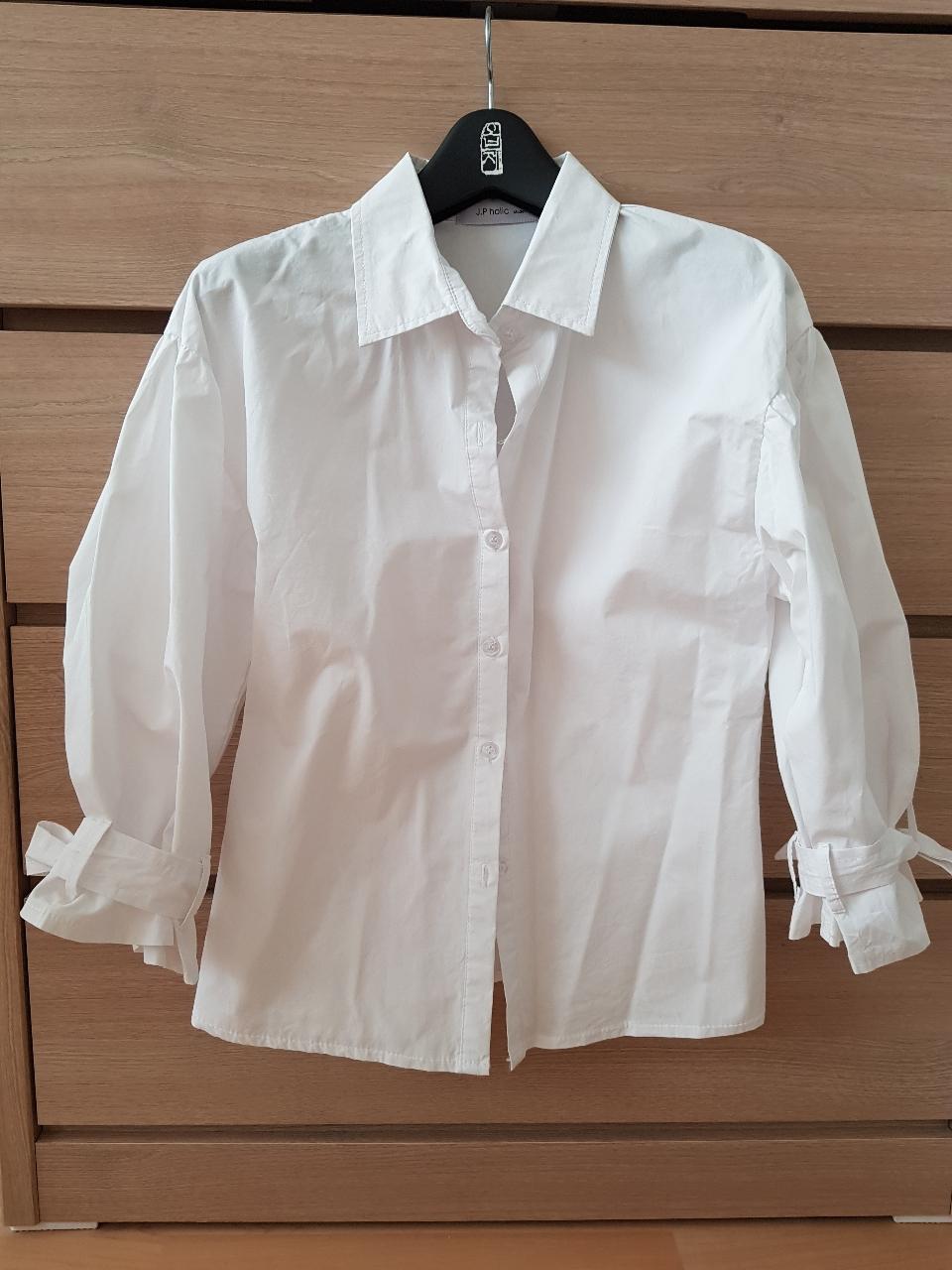 벌룬소매 끈장식 스판셔츠 55
