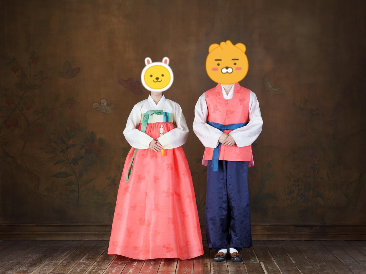 반가의 커플한복 여자한복 남자한복 (결혼식 웨딩촬영 2회착용)