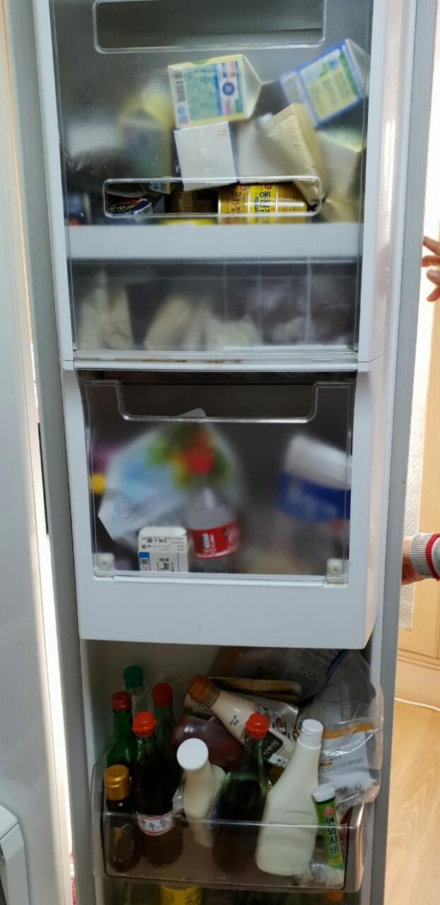 냉장고정리정돈~정리전과 정리후의 모습