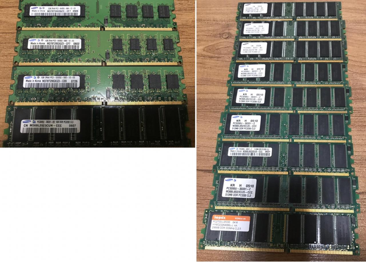 데스크탑 PC램 DDR2 2기가 1개, 1기가 3개