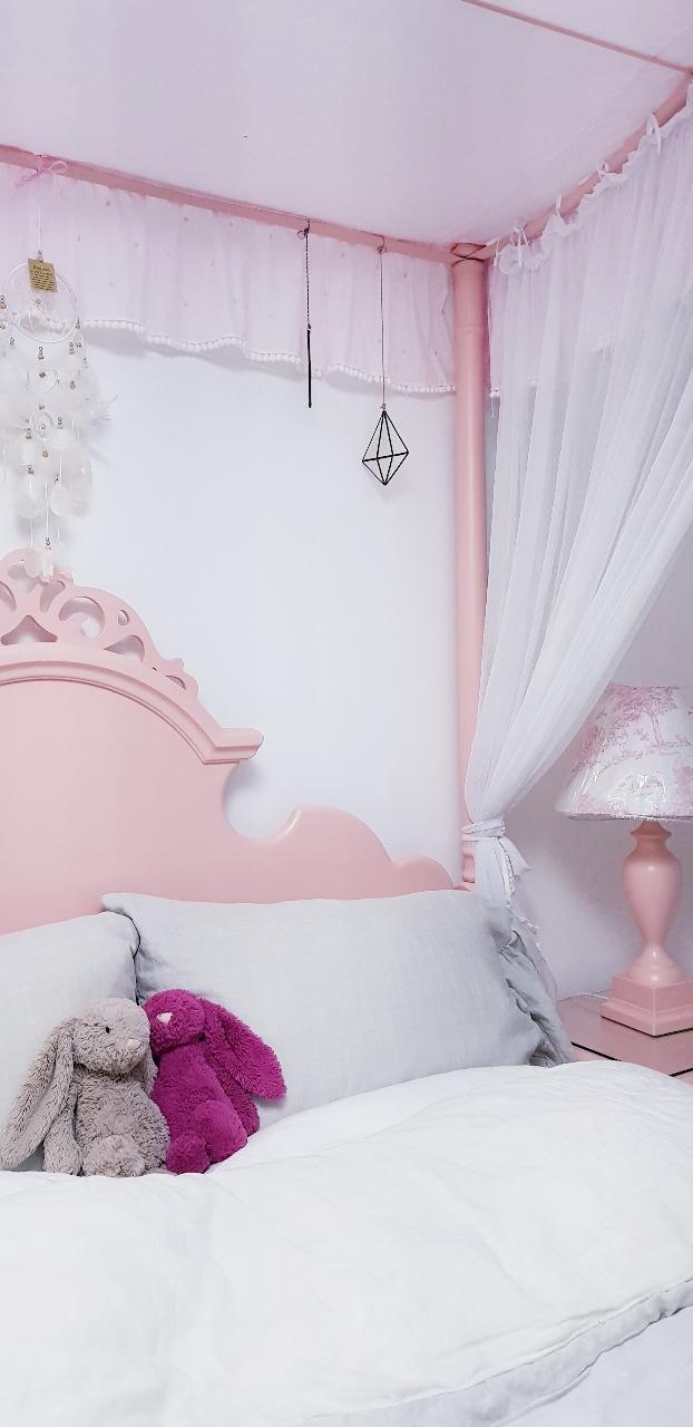 가가홈앤차일드 침대 [퀸] 캐노피 풀세트+협탁+화장대+의자+스탠드