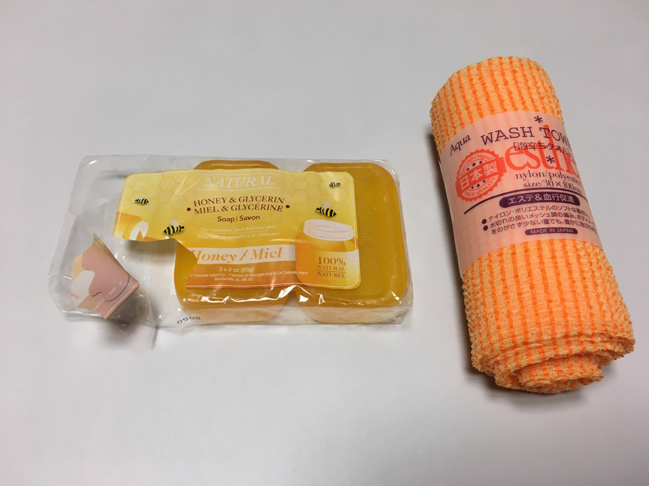 독일산 꿀비누, 일본산 샤워타올