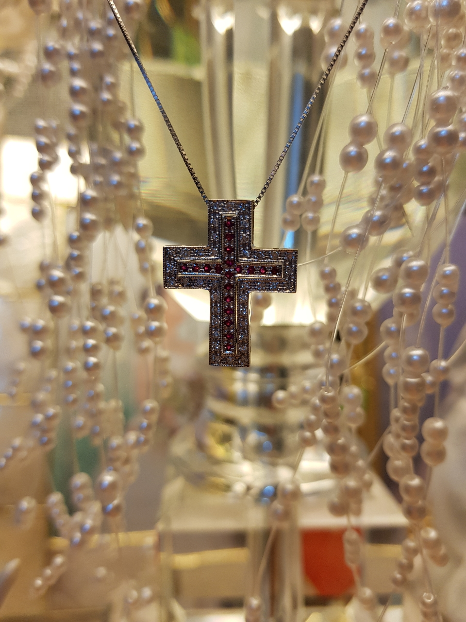 14k 다이아루비 십자가목걸이