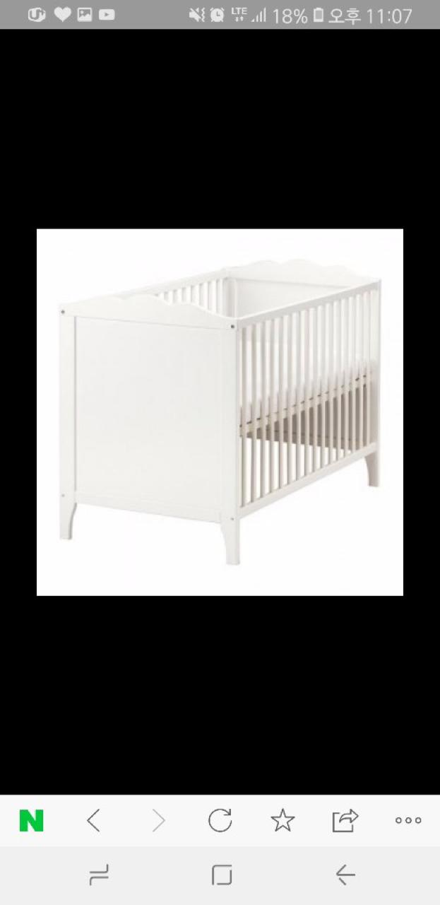 이케아 아기침대 HENSVIK & VYSSA 매트리스 +가드+침대시트2