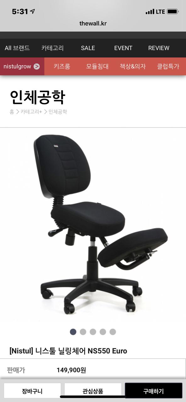 니스툴 닐링체어 디스크의자 척추