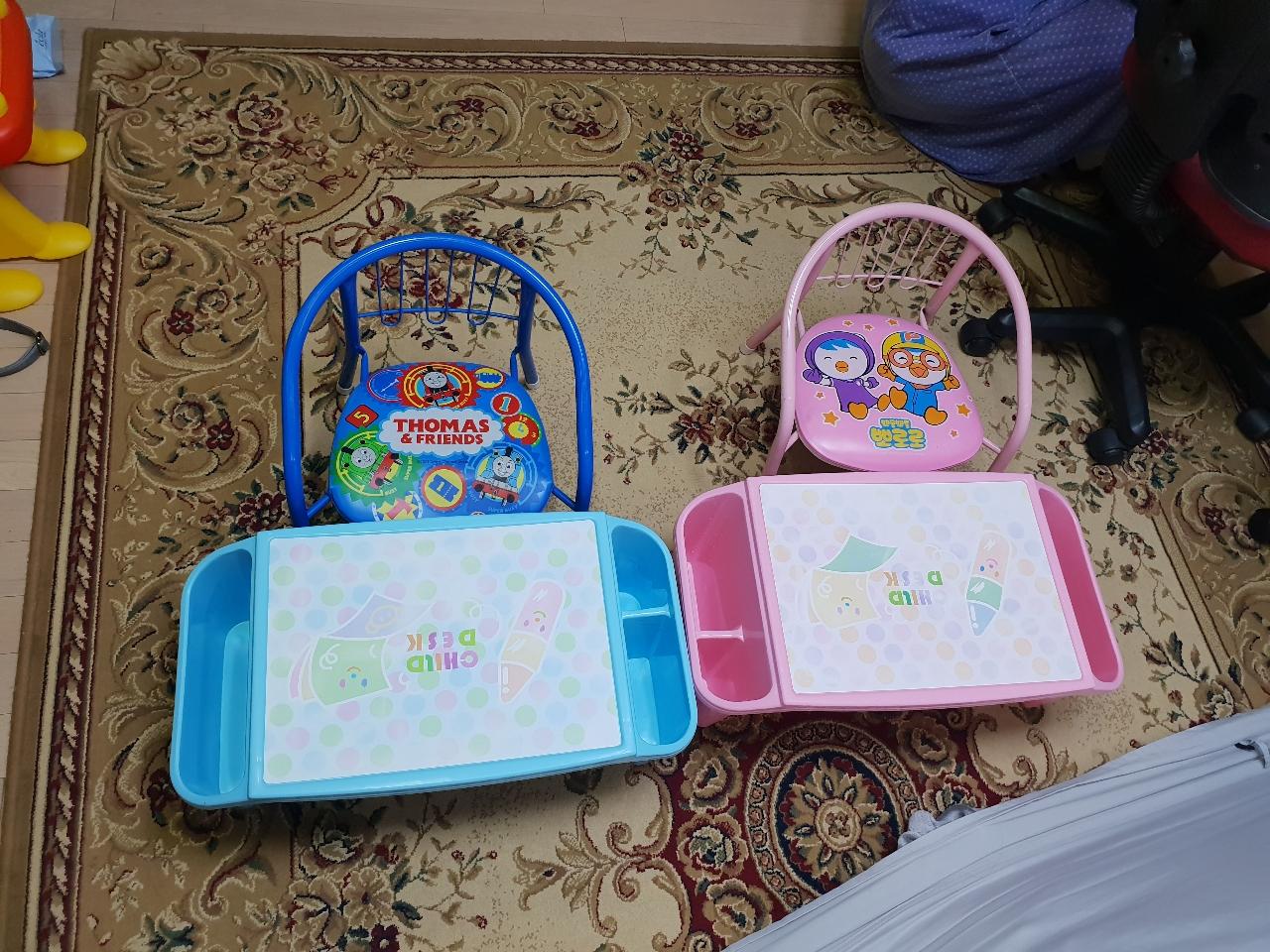 2세트) 유아 책상+의자 공부책상 뽀로로의자 토마스의자 철제의자 유아책상 유아의자