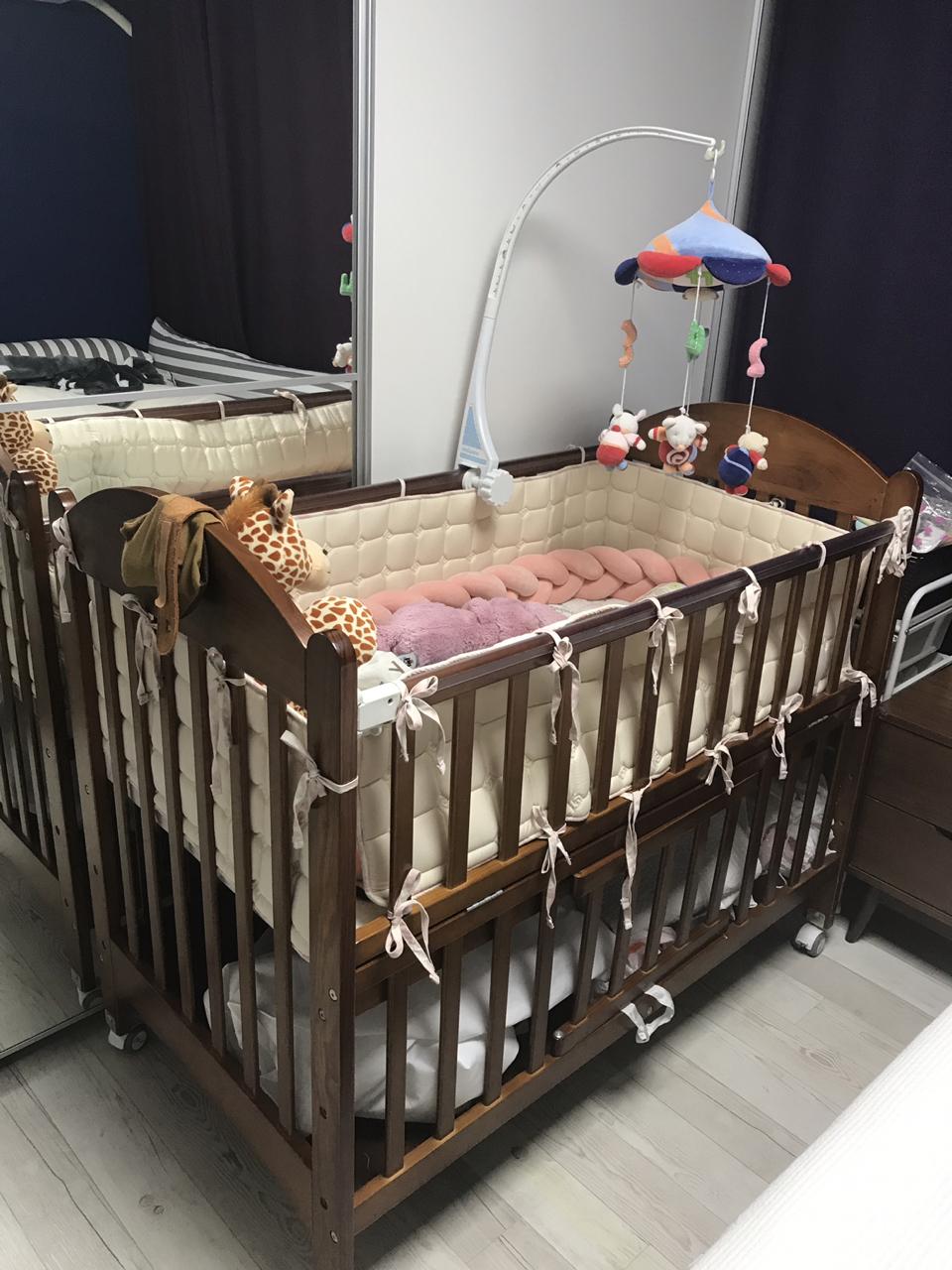 쁘띠라뺑 에코베어 고급형 침대+범퍼가드 세트 / 아기침대