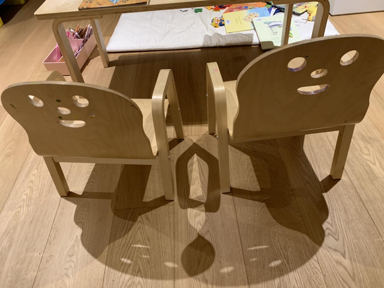 토리 책상 세트(유아용 직사각 책상, 의자2개)