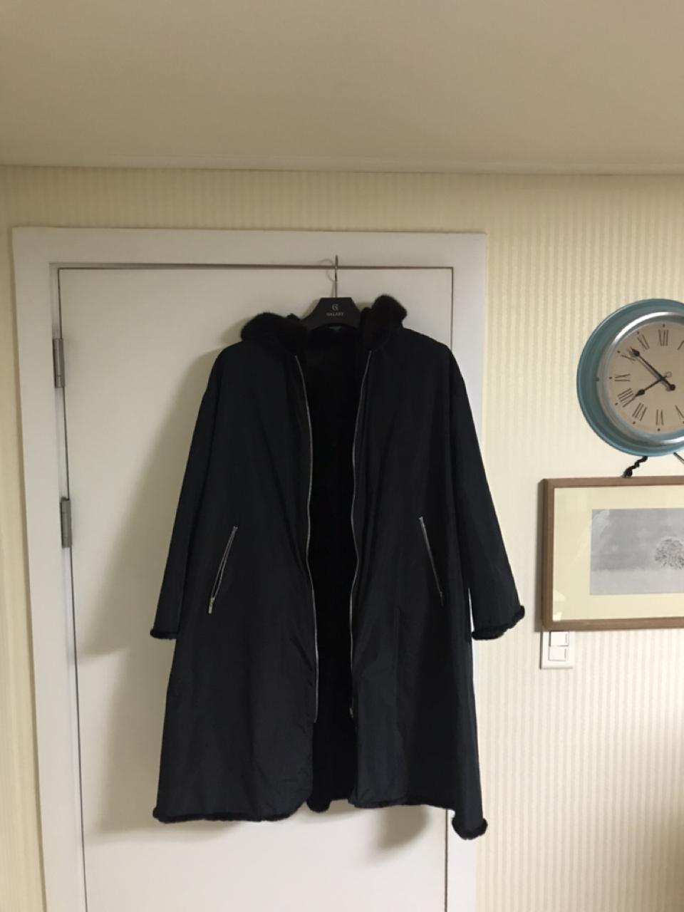 블랙 밍크 코트 66-77사이즈