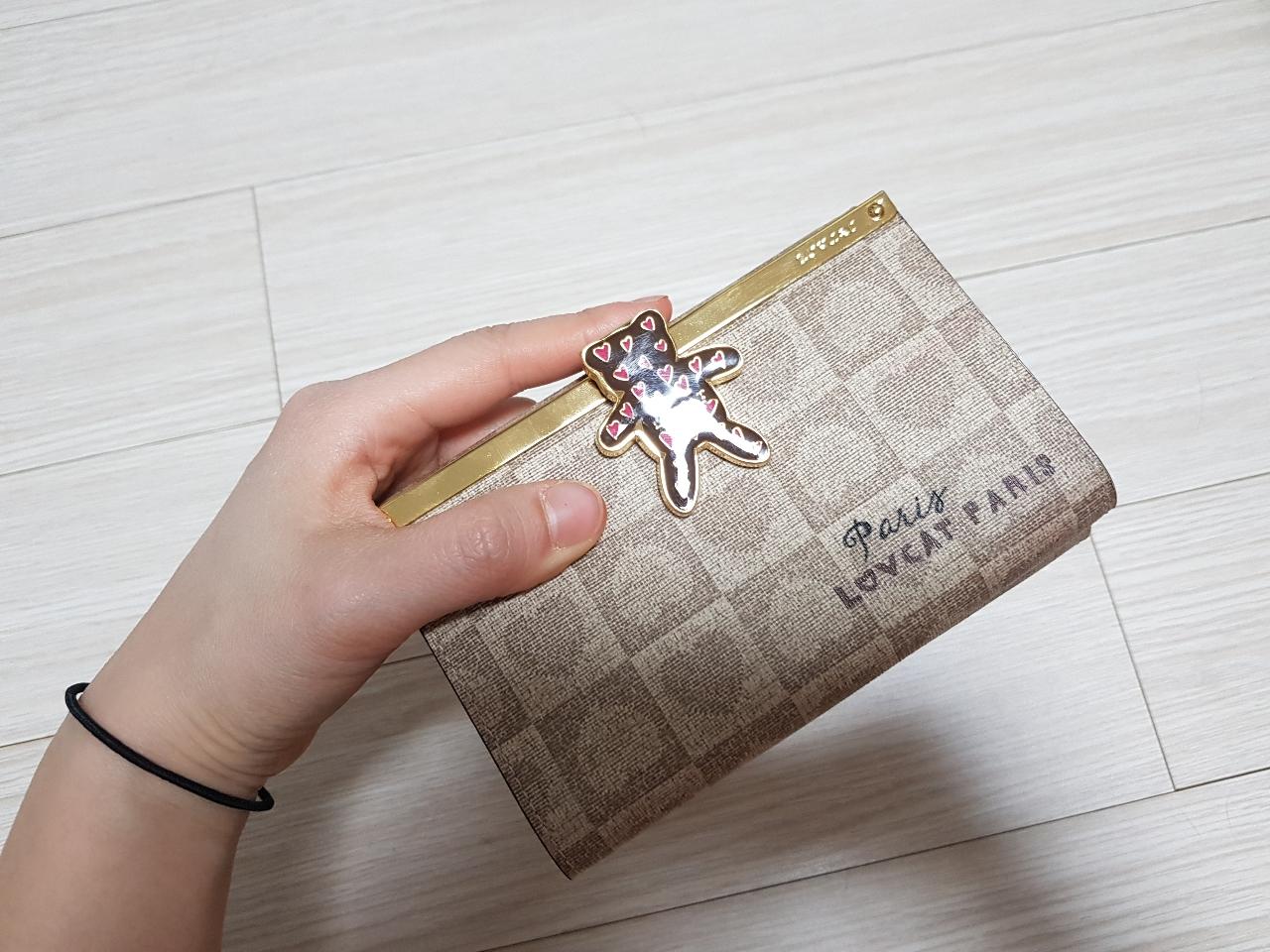 러브캣 중지갑 아이유지갑 곰돌이지갑 수납좋은지갑