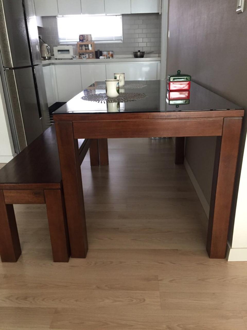 세덱 식탁+벤치 의자 셋트 (내열 유리 포함)
