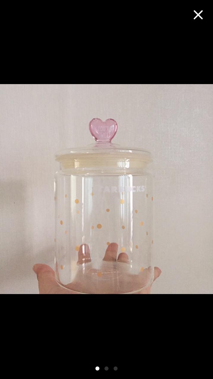 (새제품) 스타벅스 하트 글라스 자(jar)