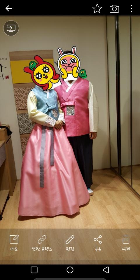 청담동 한복이야기 아씨 커플 한복.드라이완료(구매가110만원)