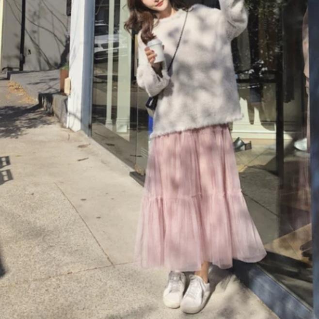 메쉬 롱 스커트 ♡무배♡새상품