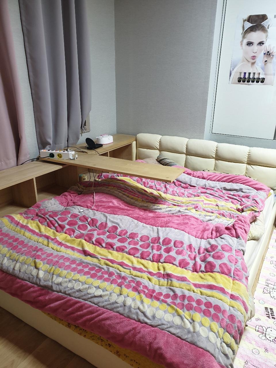퀸사이즈 저상용 침대  (온풍매트포함)