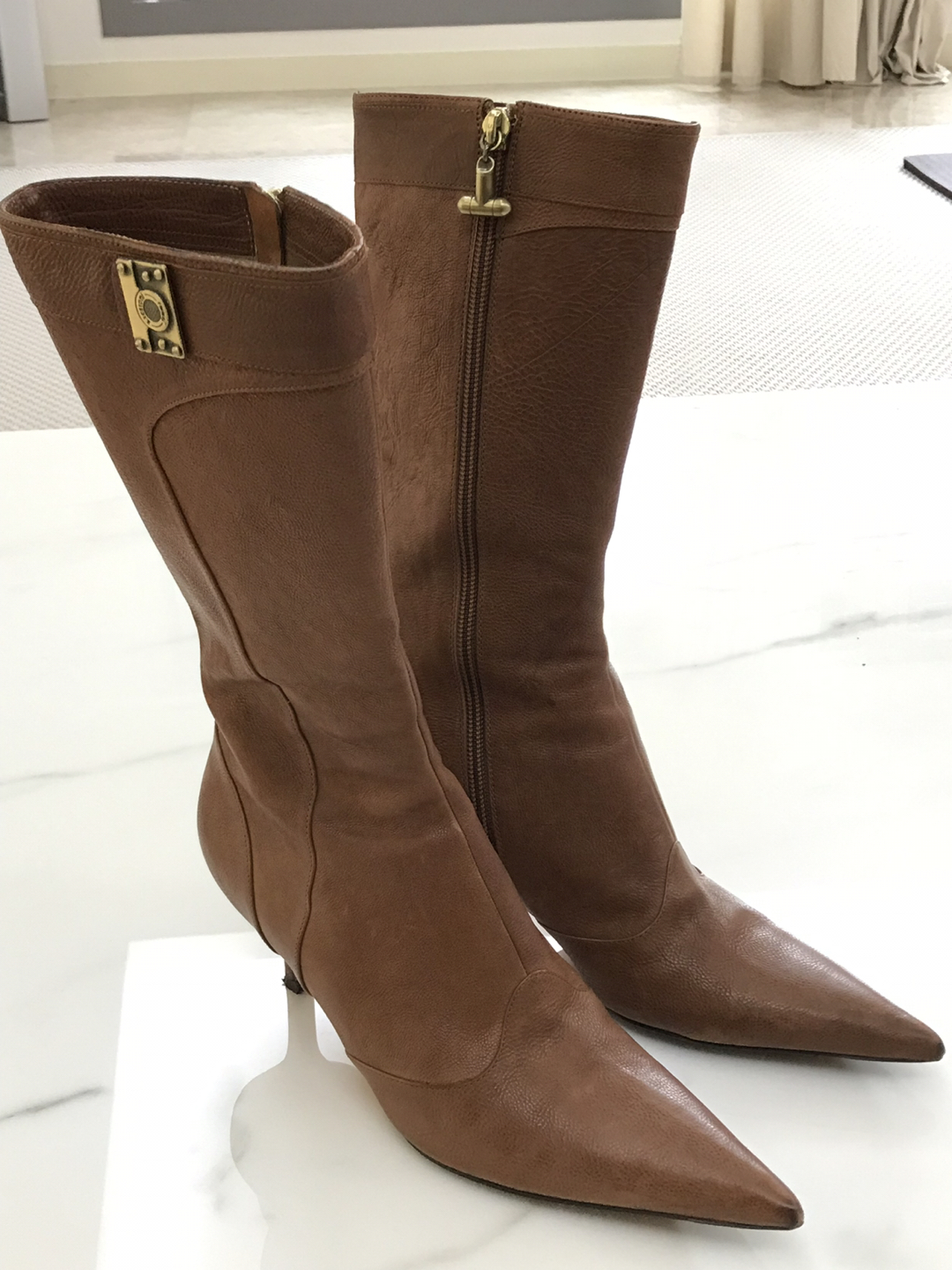 a testoni leather long boots
