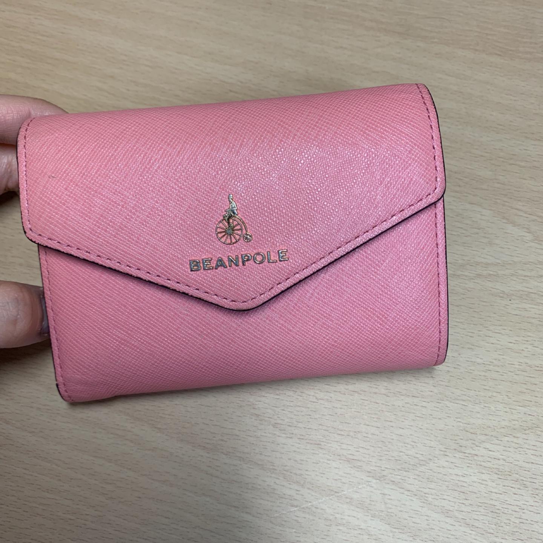 빈폴 여자 분홍색 중지갑 반지갑