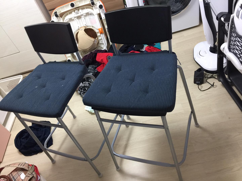 [상태 좋음] 이케아 의자_스티그 (stig) 바 체어 2개 팝니다.(방석포함)