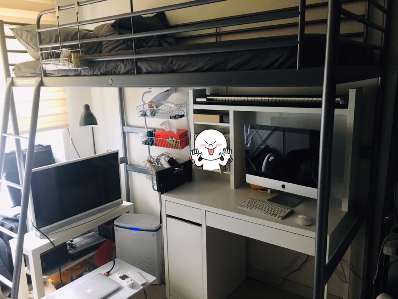 이케아 로프트침대(매트리스포함)+워크스테이션 책상
