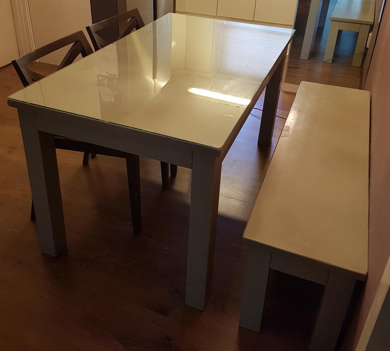 세덱 그레이 식탁(140×80),밴치,의자2,내열유리