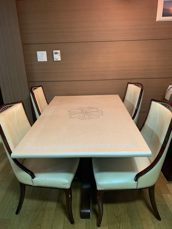 [성복동 직거래] 대리석 4인 식탁+의자4개