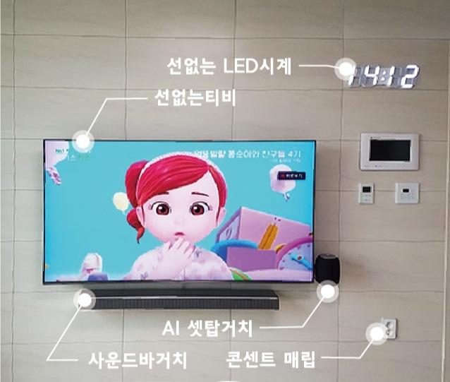 선매립 벽걸이 티비 & LED 시계 & 전기 콘센트 증설