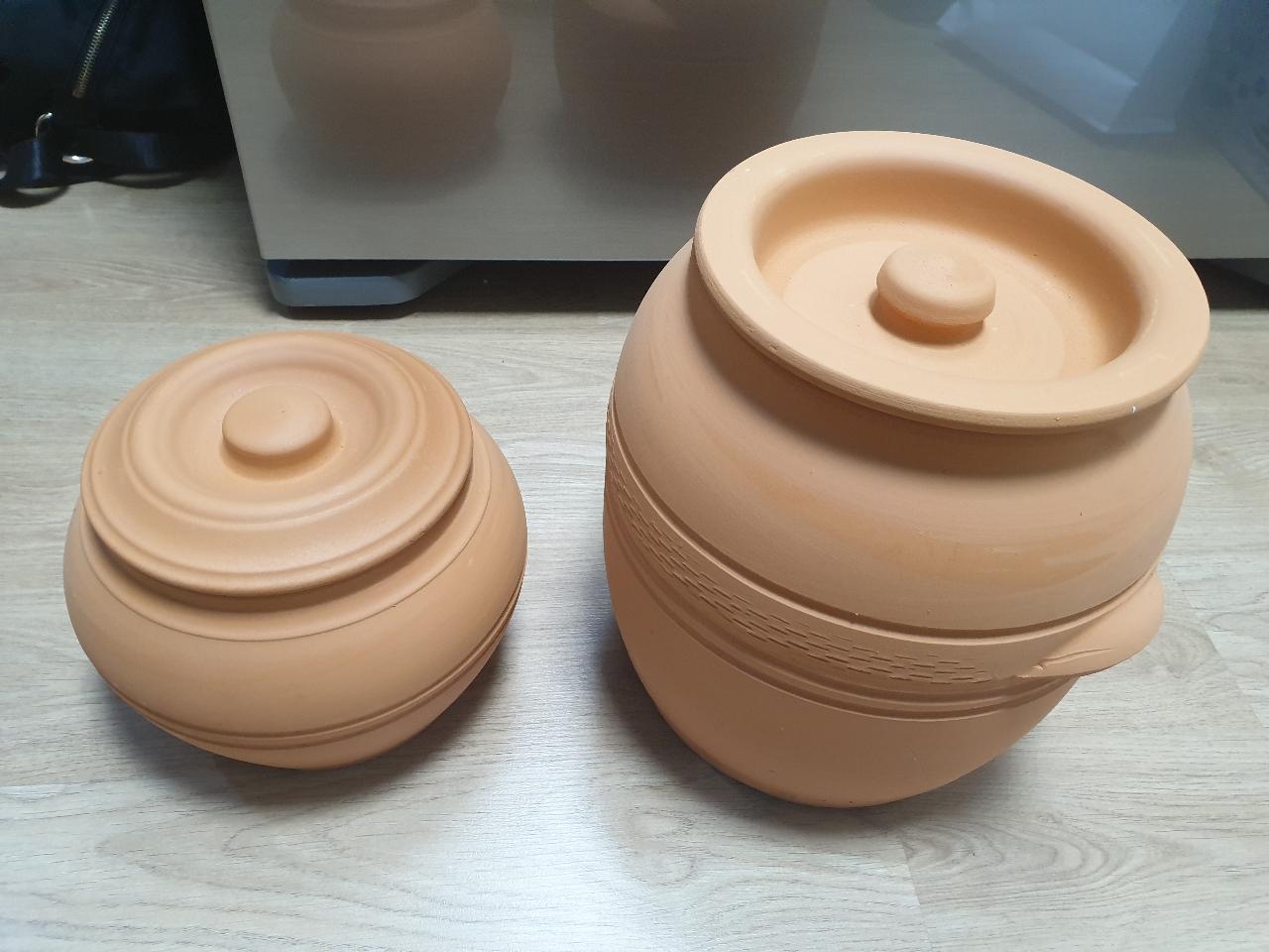 가격내림/황토 항아리 두세트+뚝배기 2p