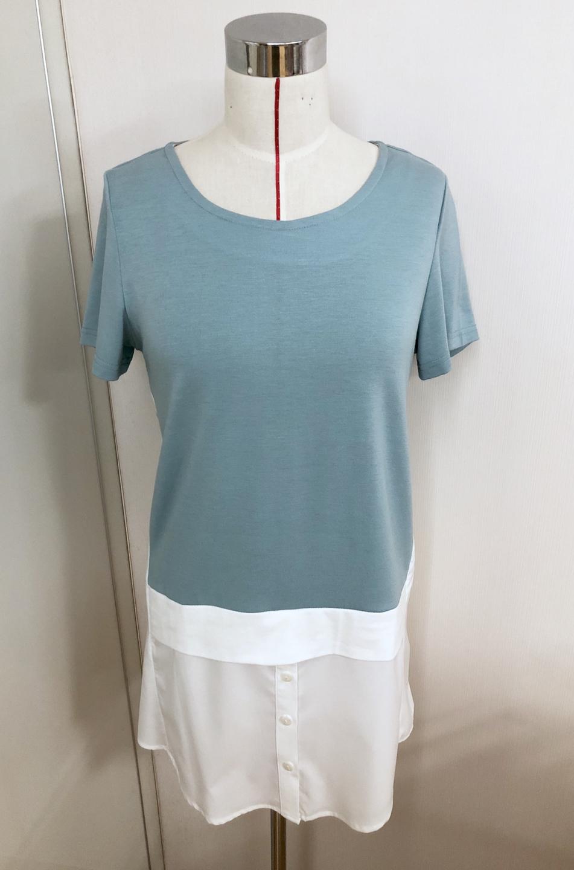 민트 셔츠 레이어드 티셔츠