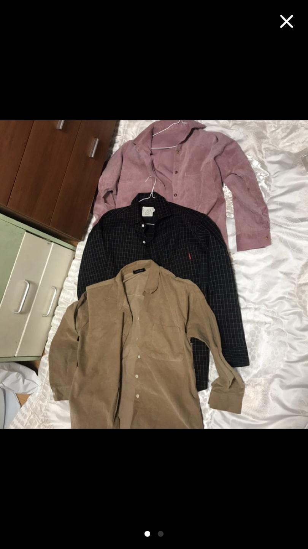 남녀공용 체크셔츠 단색 셔츠