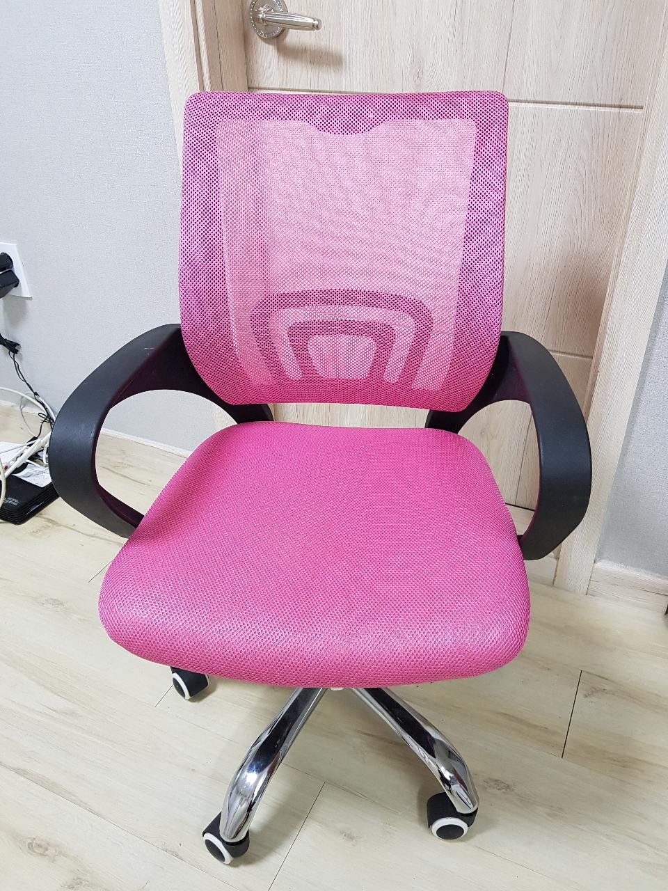 푹신한 핑크색 책상 사무용 컴퓨터 의자 (높낮이 조절, 바퀴)