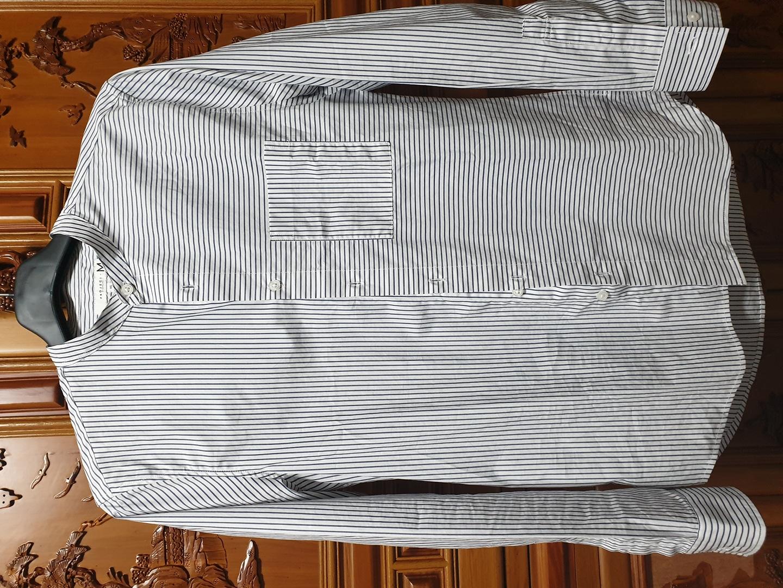 밴드카라 스트라이프 셔츠