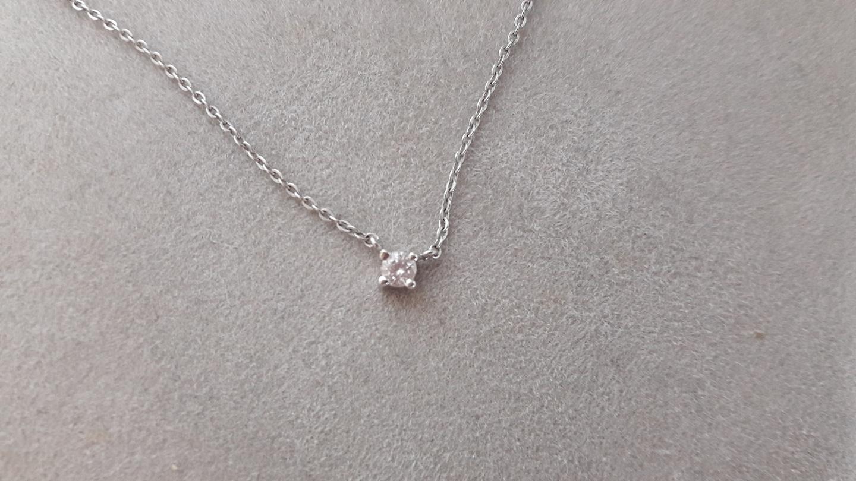 14k 화이트골드 천연다이아몬드 목걸이