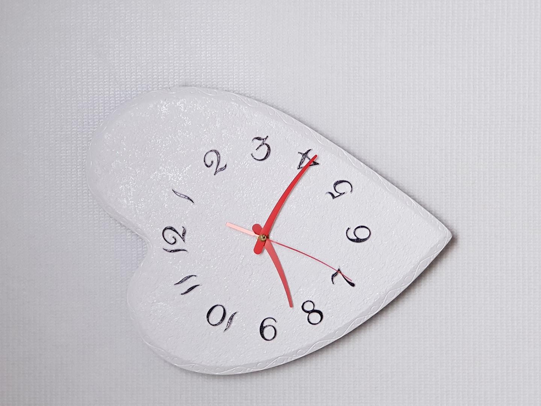 고급 인테리어 펄 하트 벽시계(흰색)
