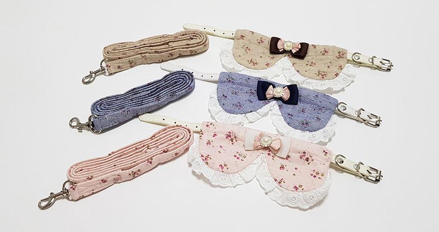 강아지 꽃무늬 케이프 목줄 리드줄 세트/ 강아지옷 /애견옷 /강아지용품