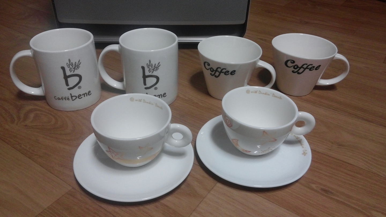 머그잔(2)+커피잔(2)+던킨커피잔(2)