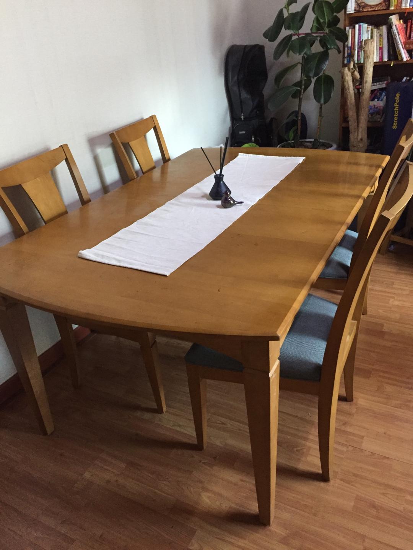 [급처분] 미국 Ethan Allen 원목 식탁 세트 (4-10인용) 의자 4개 포함
