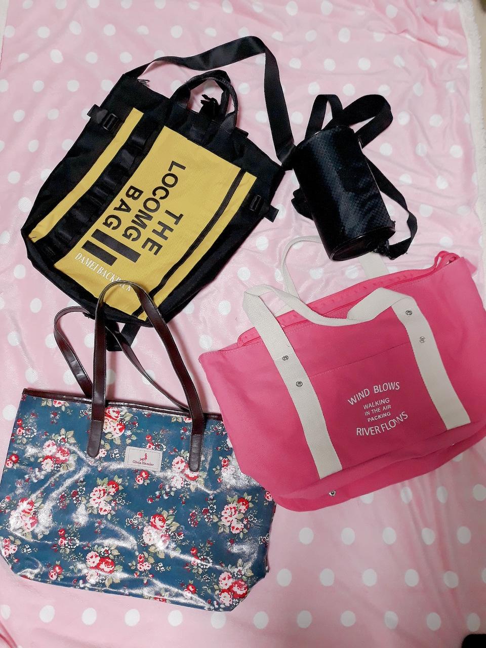 가방 4 개 ㅡ 만원  캔버스 가방 + 애나멀 가방 + 백팩 + 원통가방