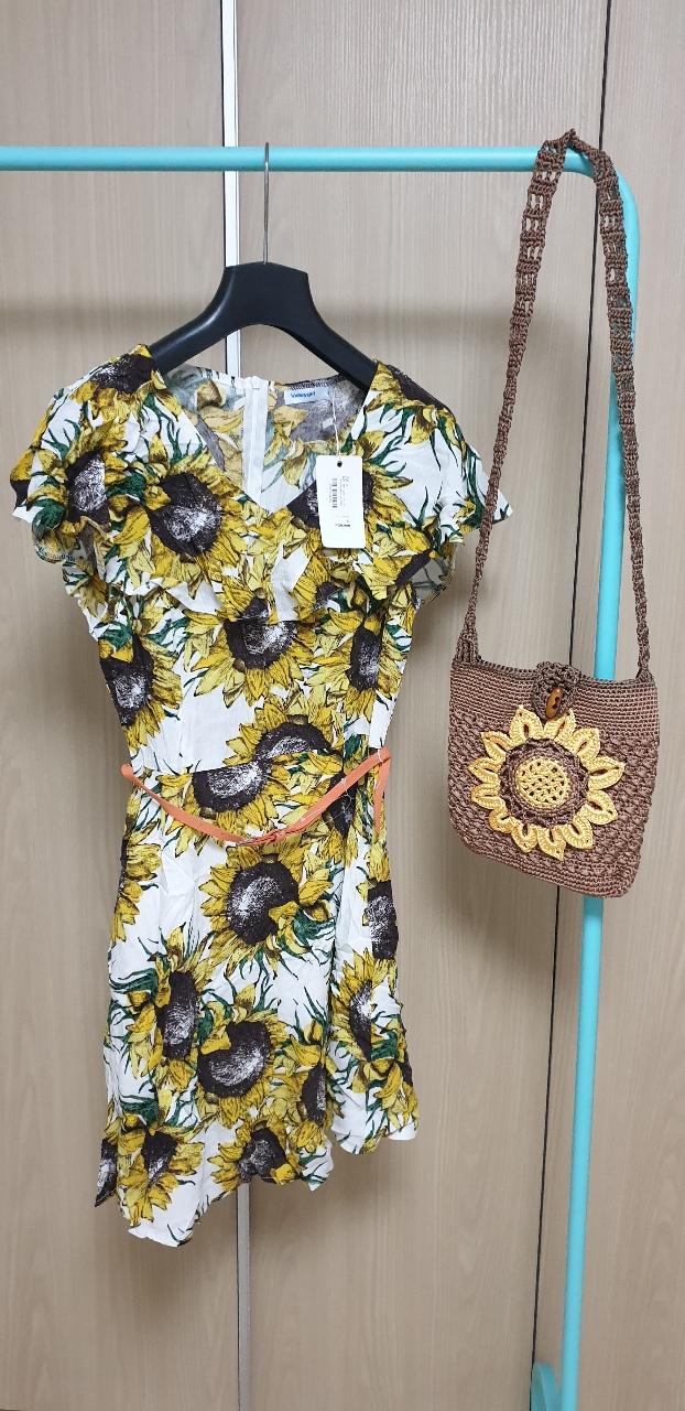 (새거)해바라기 원피스+핸드메이드 해바라기 가방