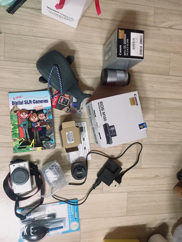캐논 미러리스 카메라 eos m100 더블렌즈 + 미러리스 망원렌즈 판매