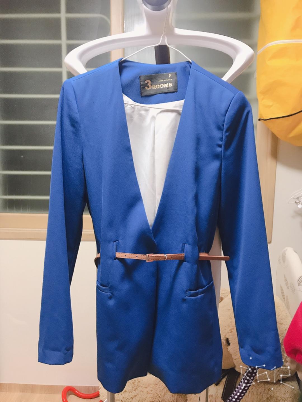 블루 노카라 자켓 간절기(벨트포함)