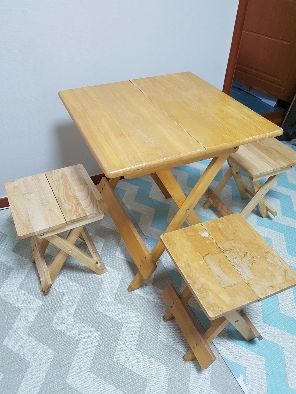 휴대용 이동 테이블 식탁 원목