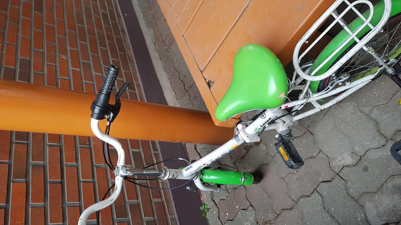 어린이 자전거 새 주인 찾습니다 겨울 내 밖에 방치해서 먼지 많이 쌓였어요