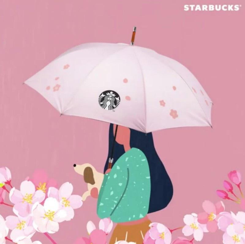 (새상품) 비맞으면 벚꽃 잎 색이 변하는 스타벅스 장우산🌸)