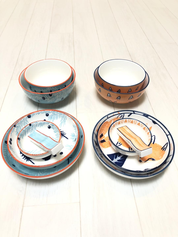 네오플램 2인 그릇 세트+일반 접시