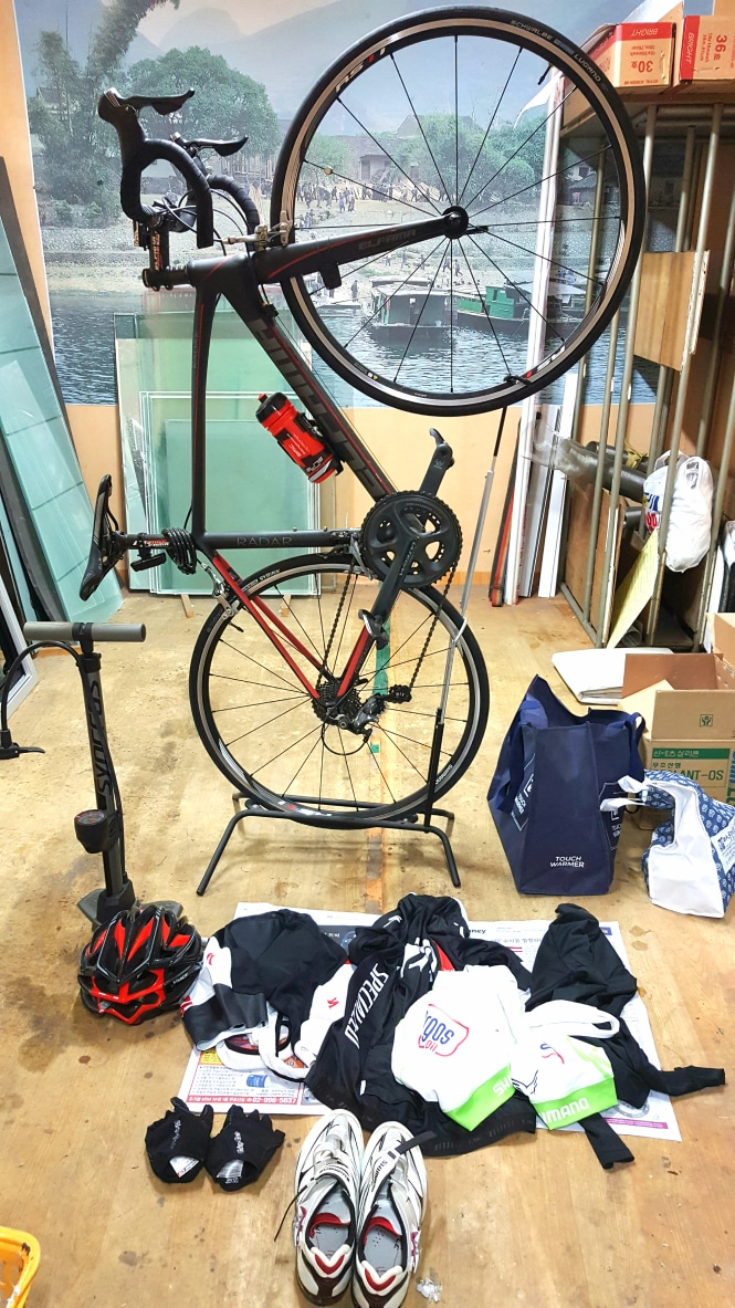 [자전거(로드바이크)+바이크용품일괄-엘파마레이다울테그라]280->100