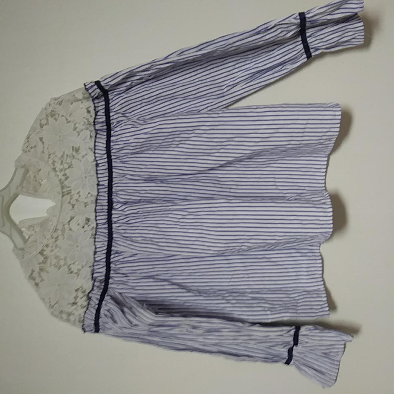 신품급)레이스 오프숄더 셔츠 티셔츠