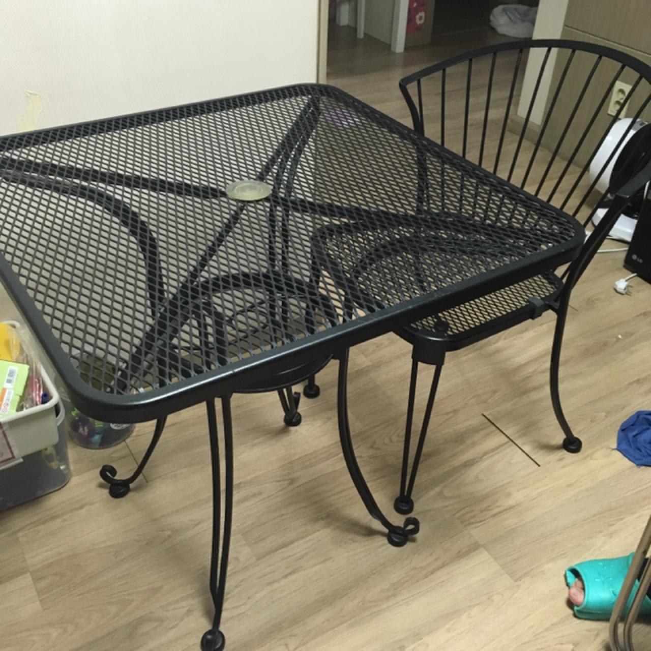 테라스 테이블 의자2개 세트