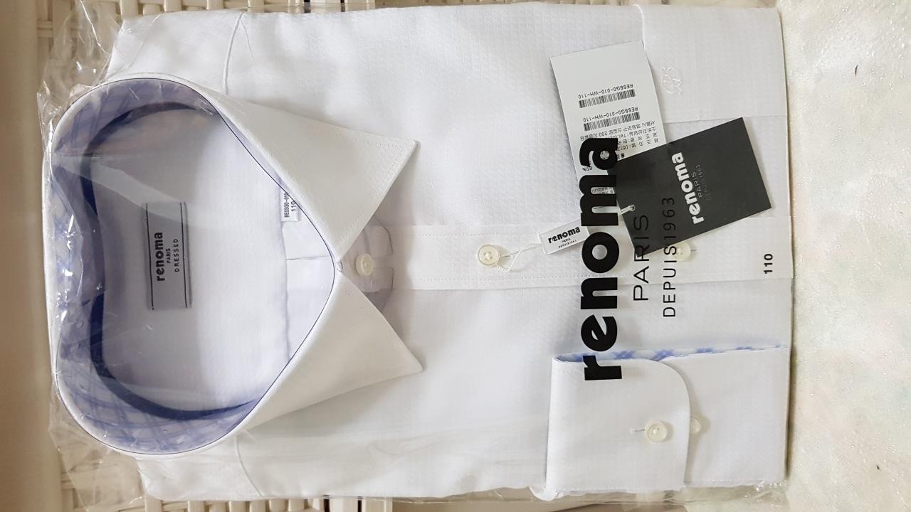 남성레노마 와이셔츠(110싸이즈) 화이트,블루