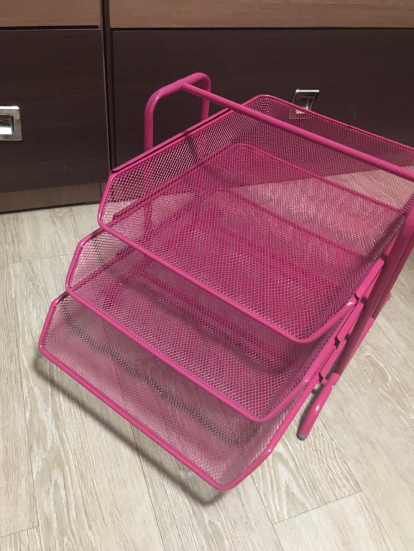 이케아 3단서류함(핑크-단종색상)